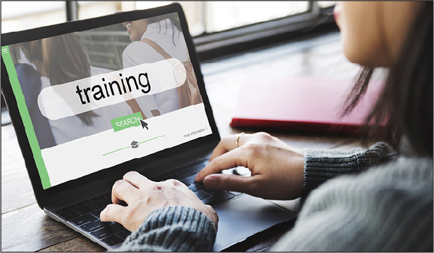 Woman doing online training